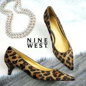 Nine West Leather Leopard Fur low Pumps Shoes 8.5M